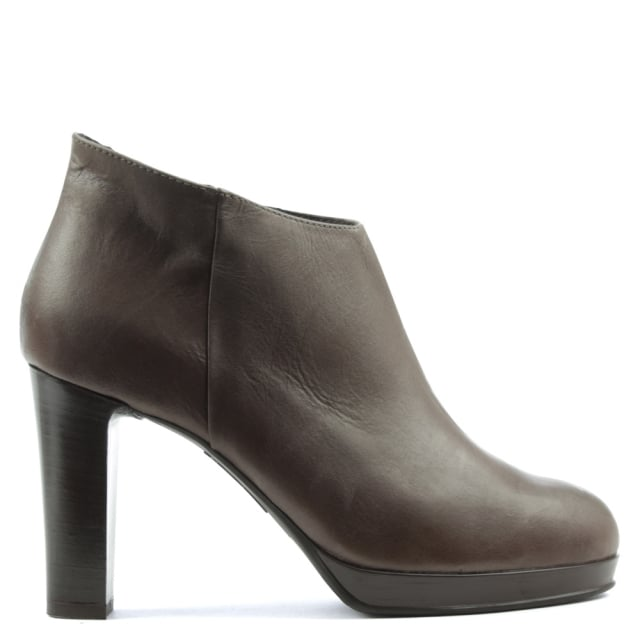 Manas Taupe Leather Asymmetric Top Block Heel Ankle Boot