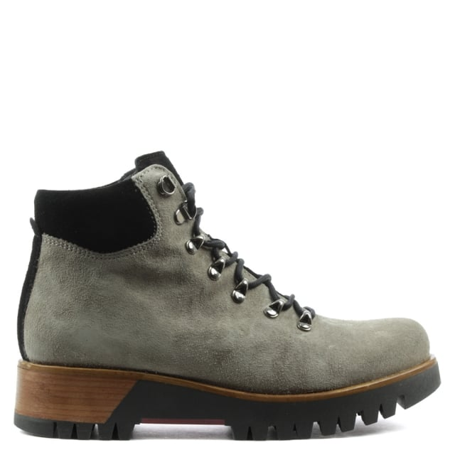 Manas Taupe Leather Contrast Lace Up Walking Boot