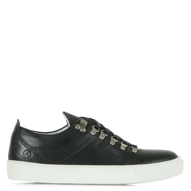 Bronx Wylde Five Mens Black Leather Lace Up Sporty Low Top